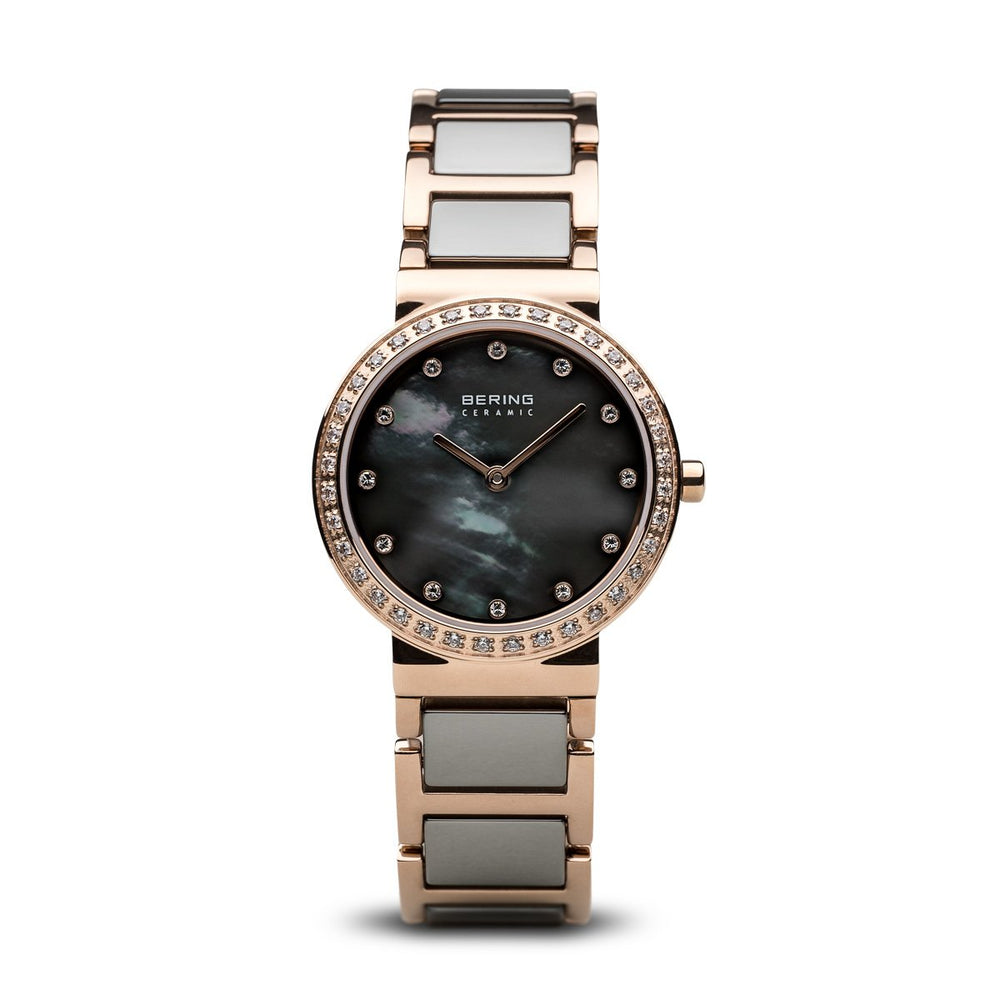 Bering Ceramic Polished Rose Gold Grey Watch