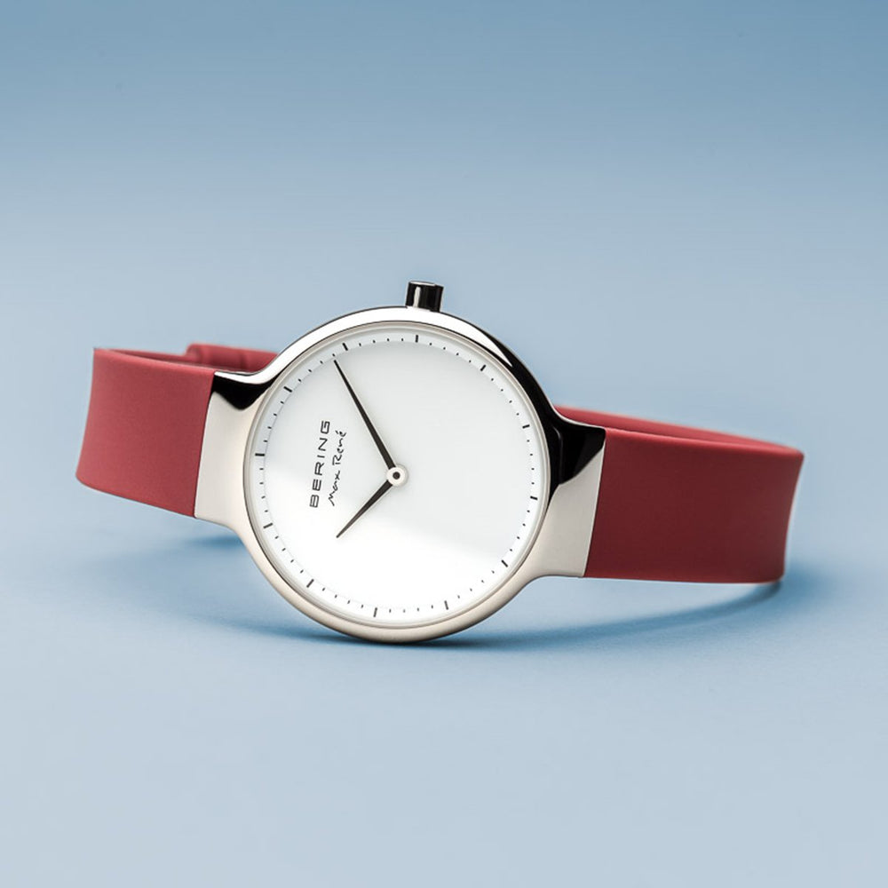 Bering Max René Polished Silver Red Silicone Watch