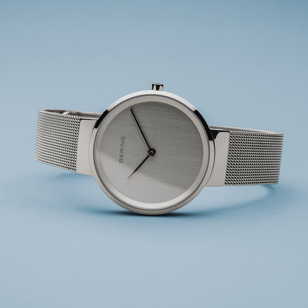 Bering Classic Polished Silver 31mm Mesh Watch