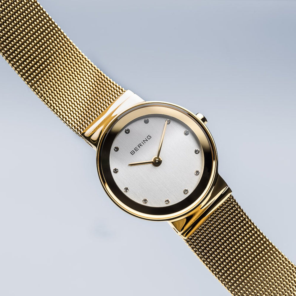 Load image into Gallery viewer, Bering Classic Polished Gold Mesh Swarovski Watch