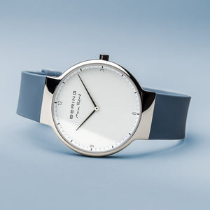 Bering Max René Polished Silver Blue Silicone Watch