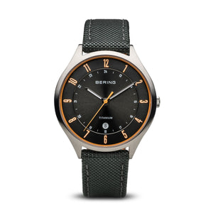 Load image into Gallery viewer, Bering Titanium Brushed Silver Black Watch