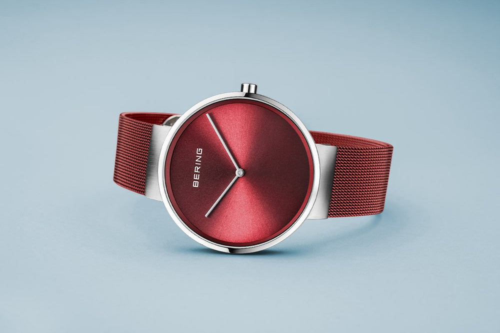 Bering Classic Brushed Silver Red Mesh Watch