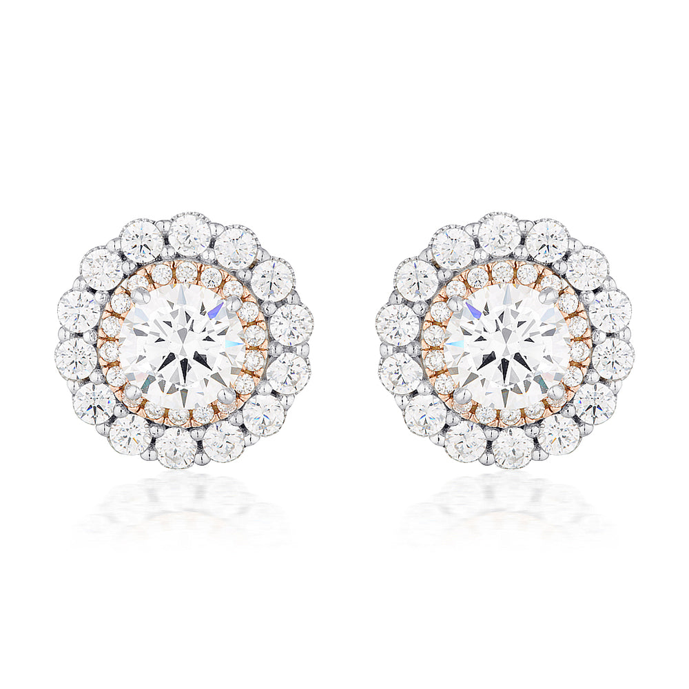 Load image into Gallery viewer, MIRANNA DOUBLE HALO STUD EARRING