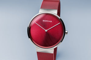 Load image into Gallery viewer, Bering Classic Brushed Silver Red Mesh Watch