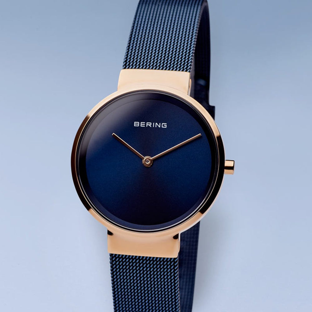 Bering Classic Polished Rose Gold Blue Mesh Watch