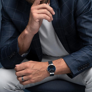 Bering Classic Brushed Silver Blue Milanese Mesh Watch