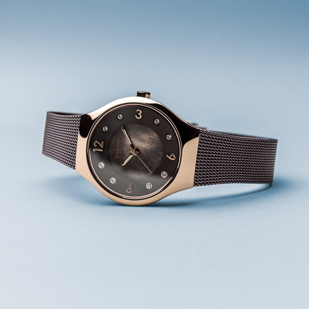Load image into Gallery viewer, Bering Solar Polished Rose Gold Swarovski Watch