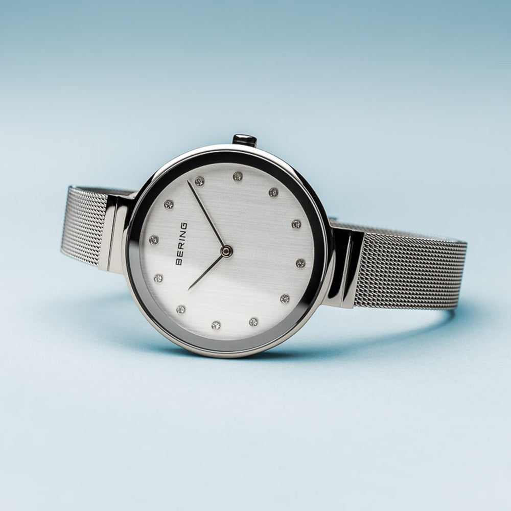 Bering Classic Polished Silver 34mm Mesh Watch