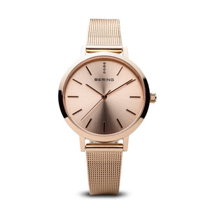 Bering Classic Polished Rose Gold 34mm Mesh Watch