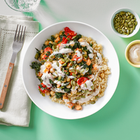 Vegetarian Grain Bowl With Quinoa, Sweet Potato Medley, Tahini Sauce & Pepitas