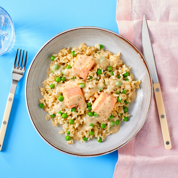 Salmon With Lemon Herb Sauce, Brown Rice & Sweet Peas