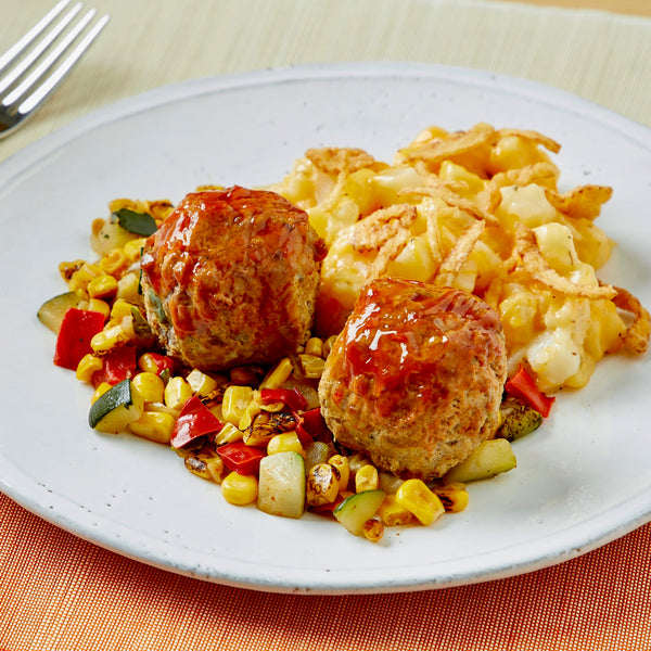 Mini Meatloaves with Cheesy Potatoes & Fire Roasted Corn Medley