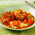 Italian Style Beef Stew with Carrots, Peas & Creamy Polenta