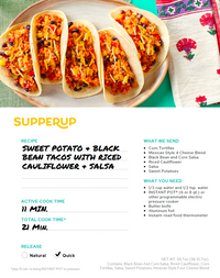 Sweet Potato & Black Bean Tacos With Riced Cauliflower & Salsa