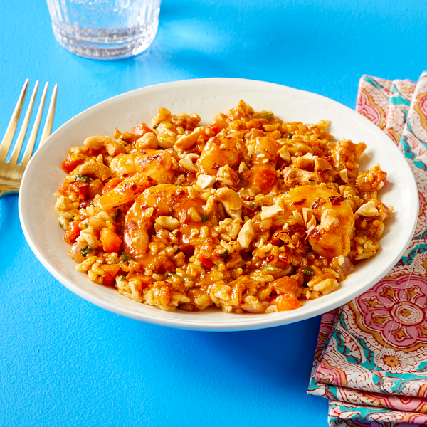 Shrimp Biryani With White Rice & Cashews