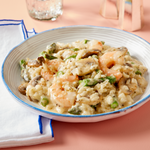 Lemon Herb Shrimp Risotto With Asparagus & Mushrooms