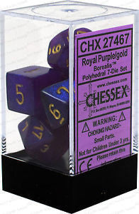 D7-Die Set Dice Borealis Polyhedral Royal Purple/Gold