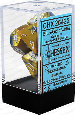 D7-Die Set Dice Gemini Polyhedral Blue-Gold/White