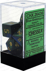 D7-Die Set Dice Gemini Polyhedral Blue-Green/Gold