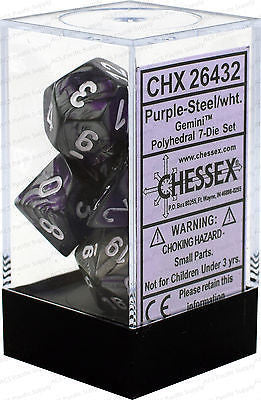 D7-Die Set Dice Gemini Polyhedral Purple-Steel/White