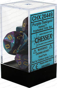 D7-Die Set Dice Gemini Polyhedral Purple-Teal/Gold