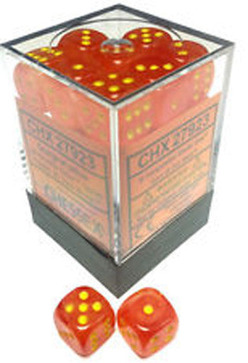 D6 Dice Ghostly Glow 12mm Orange/Yellow
