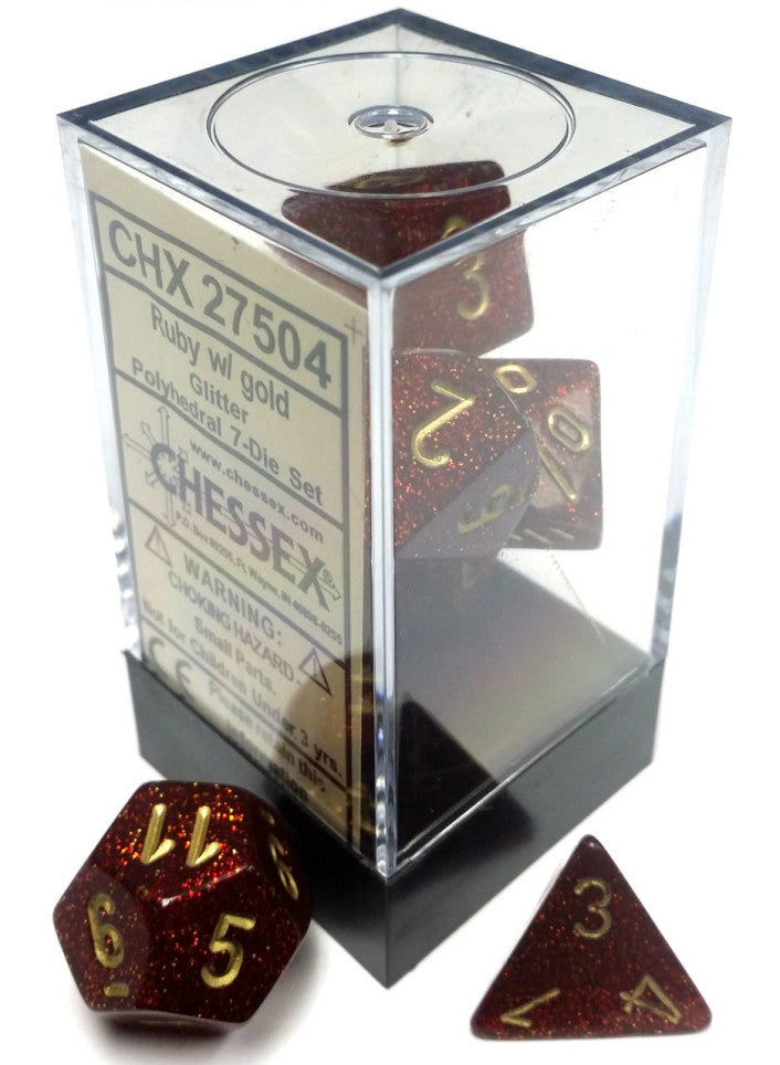 D7-Die Set Dice Glitter Polyhedral Ruby/Gold