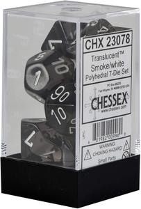 D7-Die Set Dice Translucent Polyhedral Smoke/White