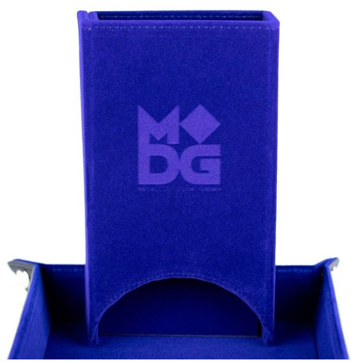 MDG Fold up Velvet Dice Tower: Blue