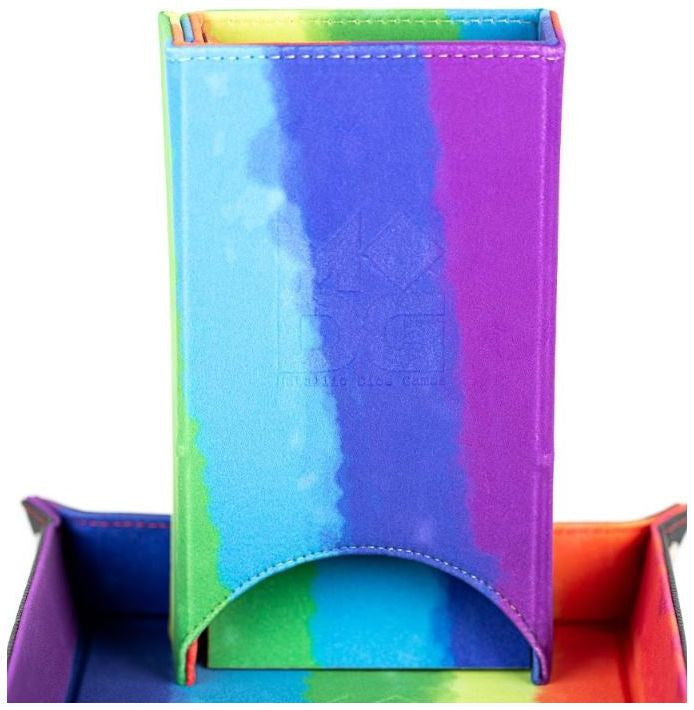 MDG Fold up Velvet Dice Tower: Water-colour Rainbow