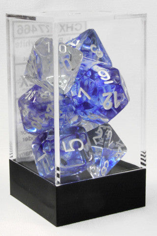 D7-Die Set Dice Nebula Polyhedral Dark Blue/White