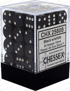 D6 Dice Opaque 12mm Black/White