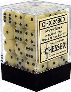D6 Dice Opaque 12mm Ivory/Black