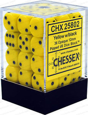 D6 Dice Opaque 12mm Yellow/Black
