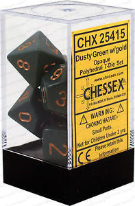 D7-Die Set Dice Opaque Polyhedral Dusty Green/Copper