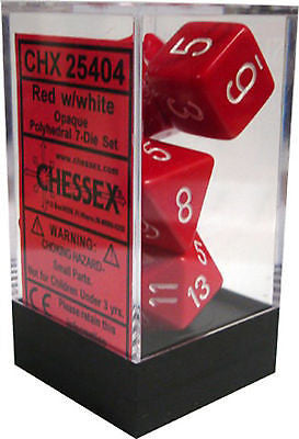 D7-Die Set Dice Opaque Polyhedral Red/White