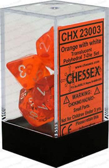 D7-Die Set Dice Translucent Polyhedral Orange/White