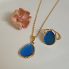 Blue Cat's Eye Stone Necklace and Ring | FeelHeal.me