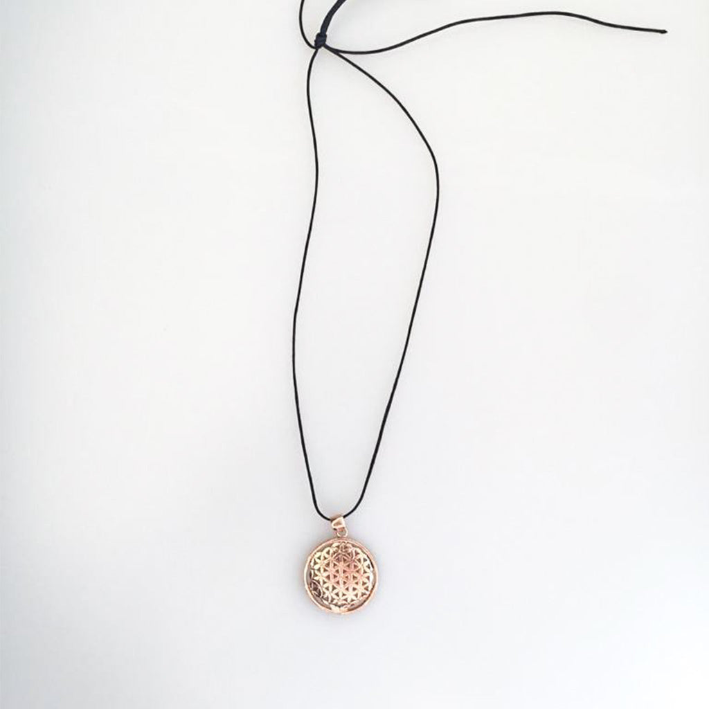 Flower of Life Curved Copper Color Silver Necklace