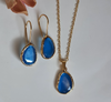 Blue Cat's Eye Necklace and Earrings | FeelHeal.me