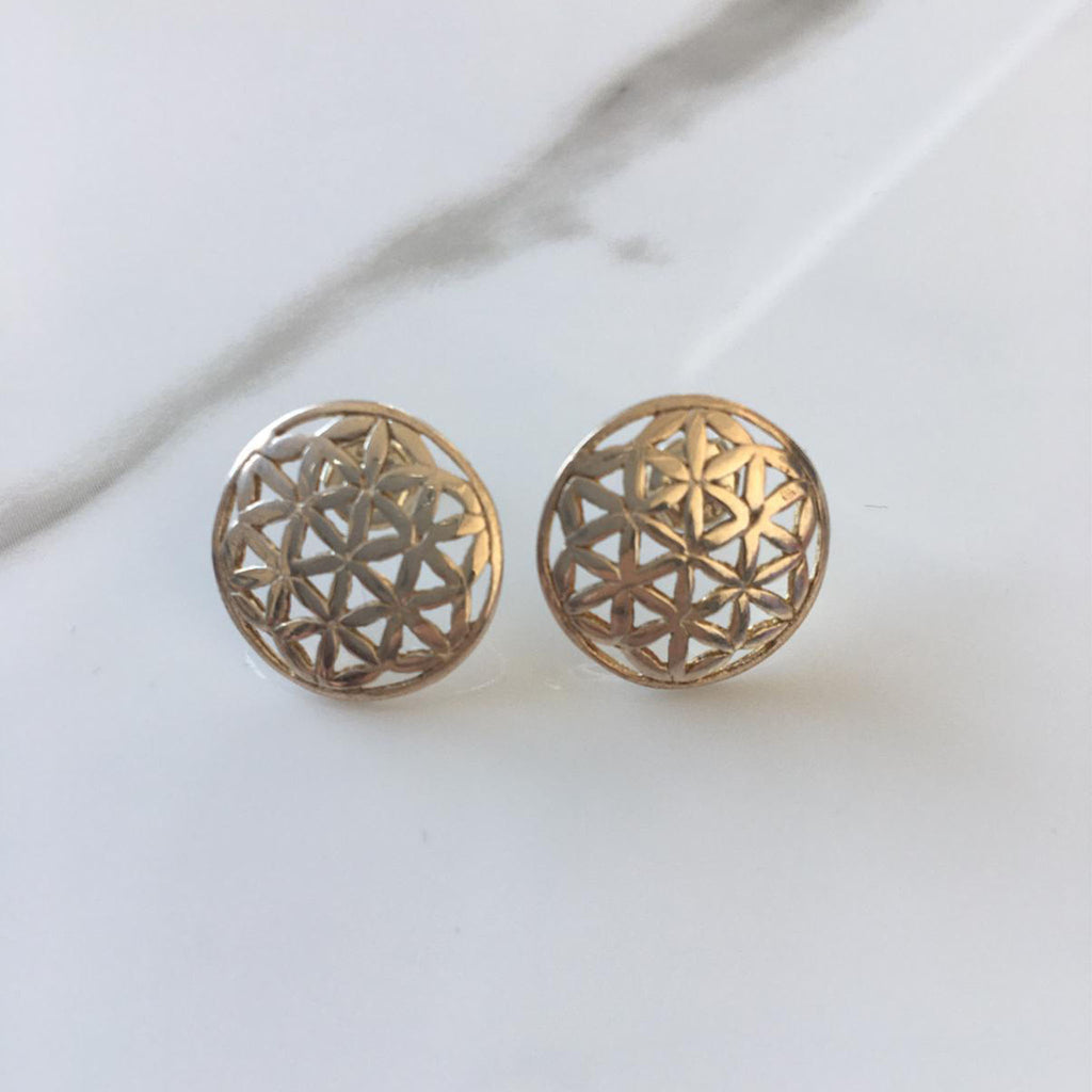 Flower of Life Silver Earrings Medium Size | FeelHeal.me