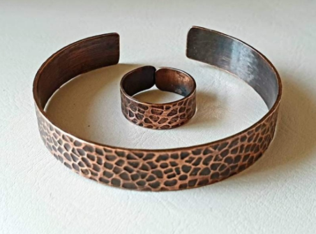 Tumbled Hammered Copper Bracelet and Ring	 | FeelHeal.me
