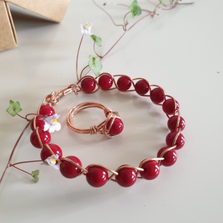 Red Coral Stone Handcrafted Natural Copper Bracelet and Ring | FeelHeal.me