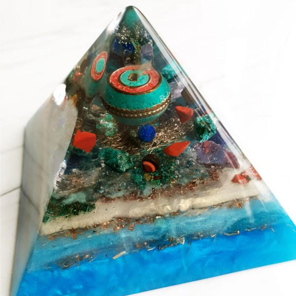 Blue Asia Orgonite Pyramid | FeelHeal.me