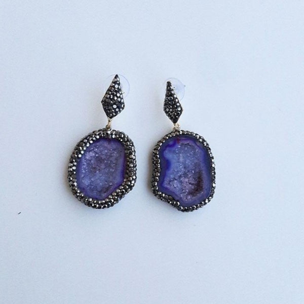 Agate Earrings with Druzy Quartz | FeelHeal.me