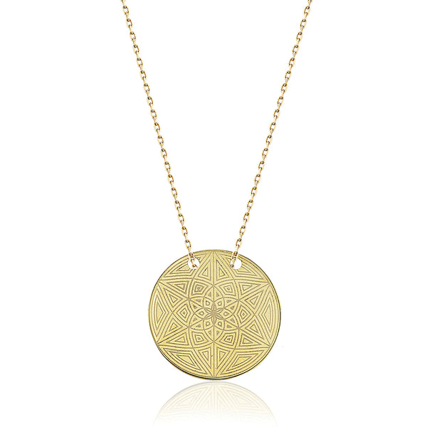 Mandala Circle Necklace Gold | FeelHeal.me
