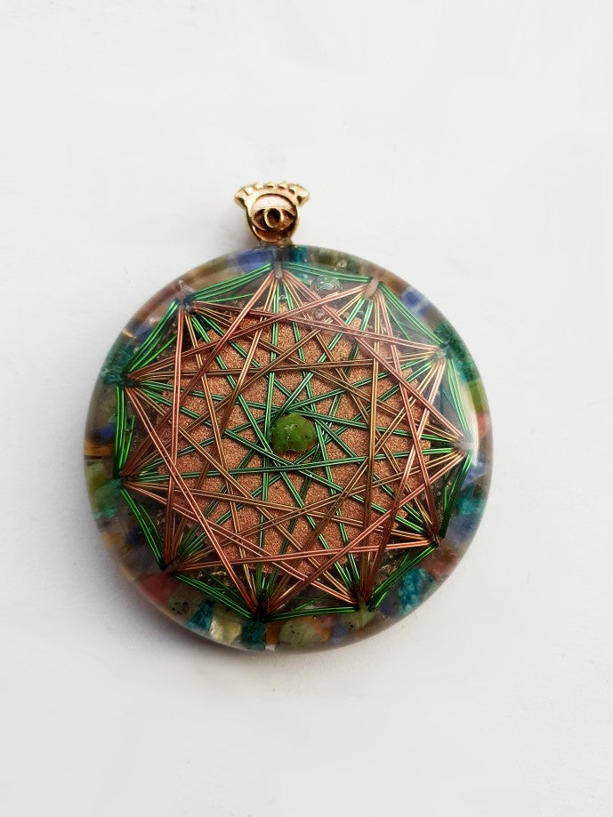 Sacred Geometry and Jade Stone Orgonite Necklace | FeelHeal.me
