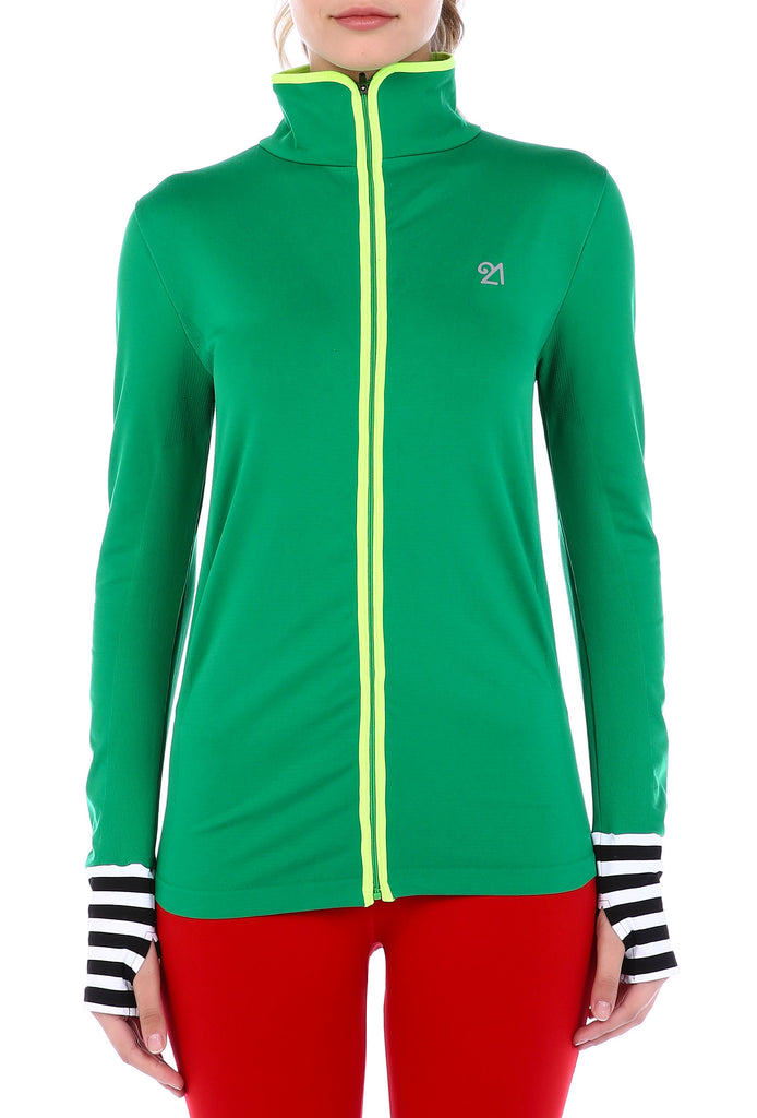 Green Sweatshirt with Yellow Stripe | FeelHeal.me