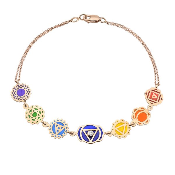 7 Chakra Color Enameled Diamond Bracelet | FeelHeal.me